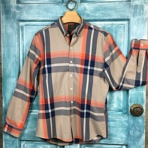 7 Diamonds All in One Plaid Shirt Slim Fit Size L